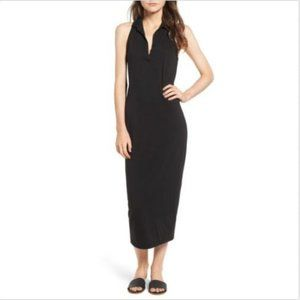 James Perse Black Collar Midi Polo Tank Dress XS